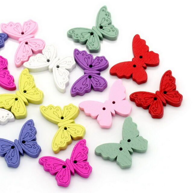 """50PCs Wood Sewing Buttons Scrapbooking Butterfly 2 Holes Mixed 6/8""""x1"""""""