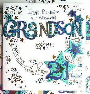 Image Is Loading Happy Birthday GRANDSON 21 Today Special LARGE Hand