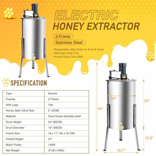 2//4 Frame Electric Honey Extractor Centrifuge Equipment Drum w// Adjustable Stand
