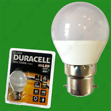 2x 4W (=25W) Duracell LED Frosted Mini Globe BC B22 Round G45 Light Bulb Lamp