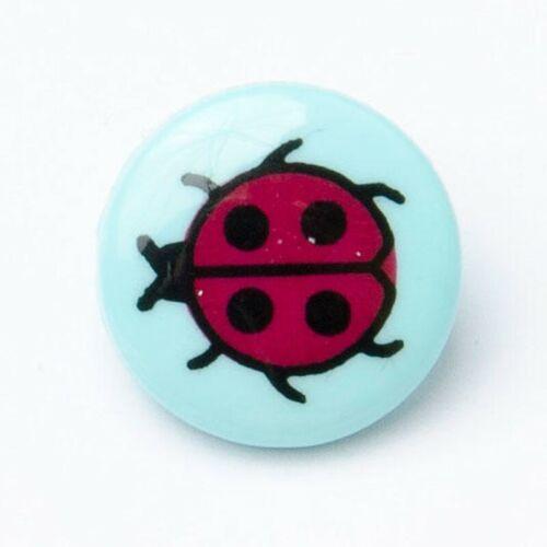 Ladybirds Mariquitas botón 15mm Vástago Redondo Plástico Novedad