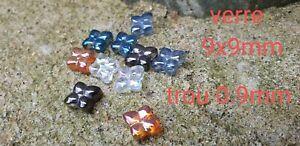 Lot De 10 Perles En Verre Mixte Fleurs 9mm