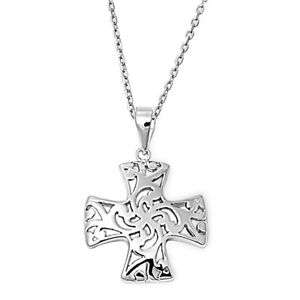 Vintage-Cross-Necklace-Sterling-Silver-925-Pendant-Religious-Jewelry-Gift