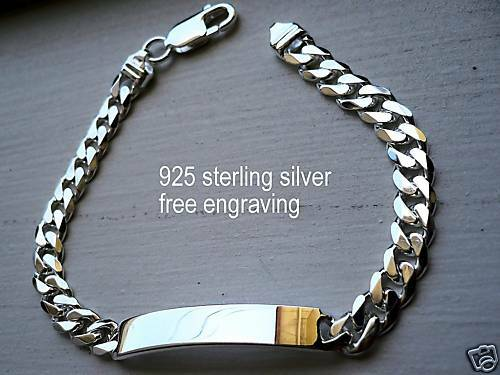 "925 SILVER MEN/'S CUBAN LINK ID BRACELET 7/""8/""9/""//  free engraving"