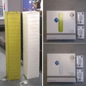 Stehleuchte-Papierschirm-Wohnzimmer-Stehlampe-Leuchtmittel-2x-E27-LED