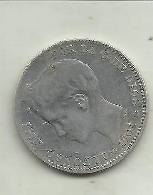 VF CONDITION SPAIN 50 CENTS ALFONSO XIII  1904 3RW 30MAY SILVER COIN