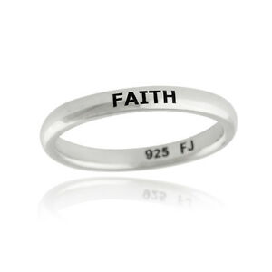 720e7cc070 Image is loading Faith-Ring-Engraved-Stackable-Ring-925-Sterling-Silver-
