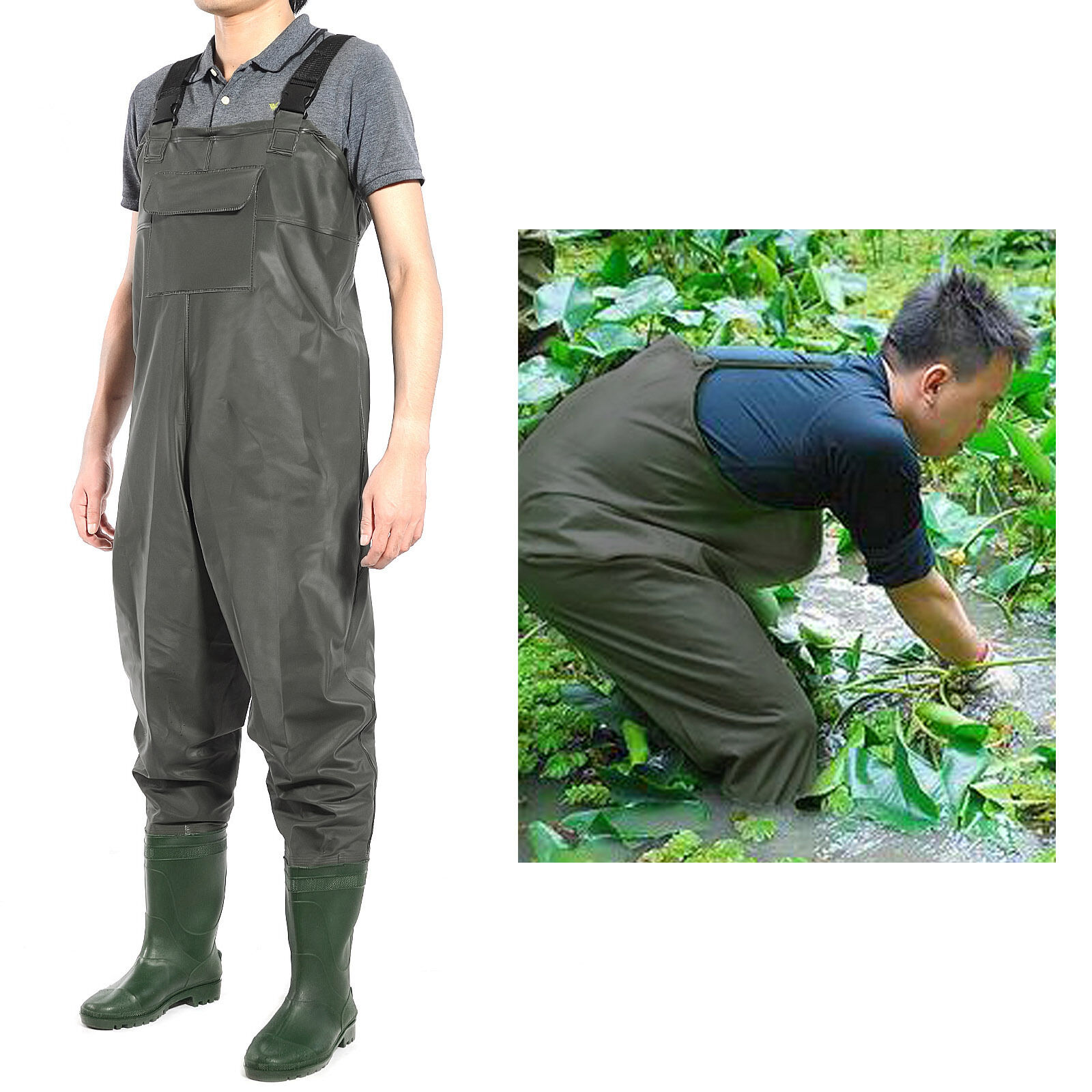 PVC Waterproof  Chest Waders Carp Fly Coarse Fishing Green With Boot  with 100% quality and %100 service