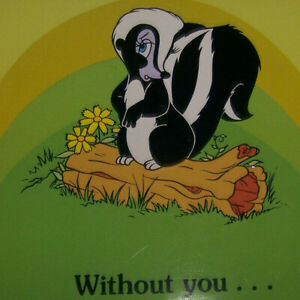 Vintage-Greeting-Card-Hallmark-Walt-Disney-Collection-Miss-Skunk-Without-You