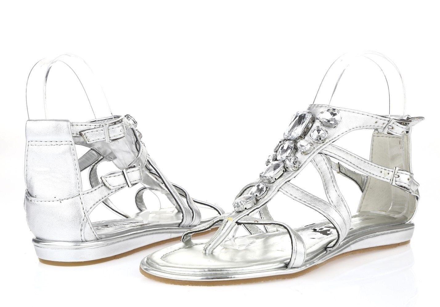 Women's NINE WEST 227550 silver jeweled ankle strap sandals sz. 9 M