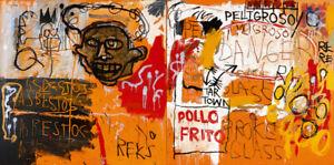 Jean-Michel-Basquiat-Print-on-Canvas-Abstract-art-decor-sale-Pollo-Frito-24x48-034