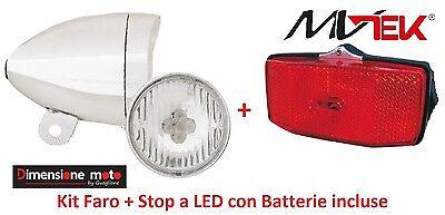 per Bici 20-24-26-28 Trekking Stop al portap Kit a Led con batterie Faro 04