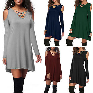 Women-Cold-Shoulder-Long-Sleeve-Lace-Up-Ladies-Casual-Midi-Dress-Tunic-Dresses