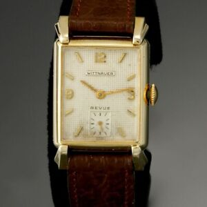 Wittnauer Watch Value >> Details About Vintage Wittnauer Dress Watch Ca1950s Revue Model 17 Jewel Manual Wind