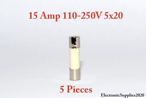 USA Fast Shipping 5 Fast Blow Ceramic Fuses 15A 15 AMPS 110-250V 5x20