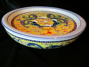 RARE CHINESE EXPORT PORCELAIN BOWL OR WARMER YELLOW BLUE DRAGONS LID