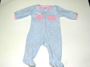 Girl-infant-Carter-039-s-sleeper-Little-Sister-Size-NB-blue-pink