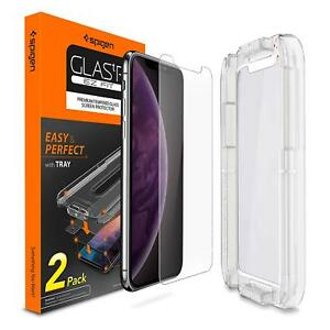 Apple-iPhone-X-XS-Max-Spigen-GlasTR-Slim-TEMPERED-GLASS-Screen-Protector-2-PACK