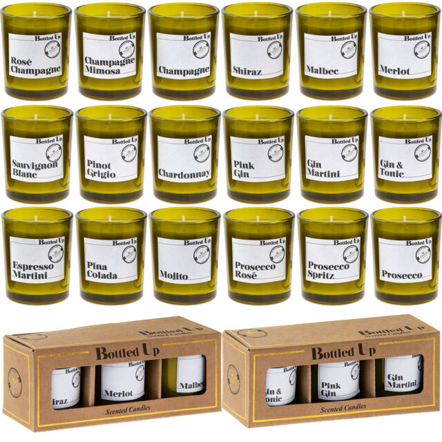 6 PC COCKTAIL /& GIN SCENTED GREEN GLASS BOTTLE CANDLES 14 HOURS BURN TIME EACH