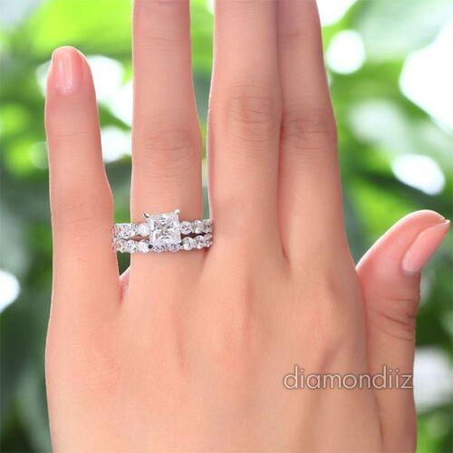 Sterling 925 Silver Bridal Wedding Engagement Ring Set 1.5 Ct Princess Diamond