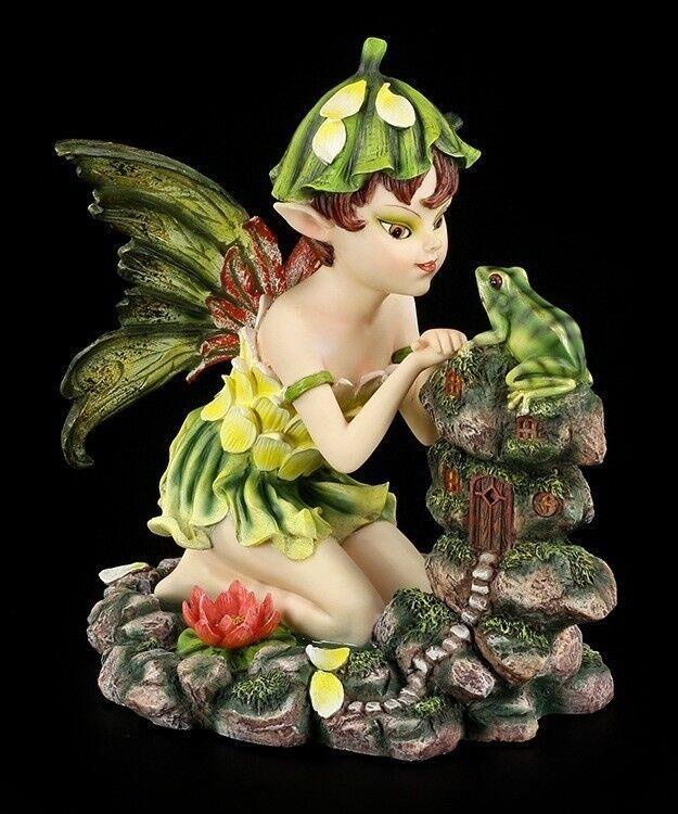 Pixie Figura ELFOS CON RANA - FANTASÍA HADAS naturelfe Estátua Decorativa