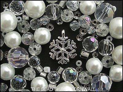 Glass Bead Mix / Bracelet Making Kit - White & Clear - Snowflake