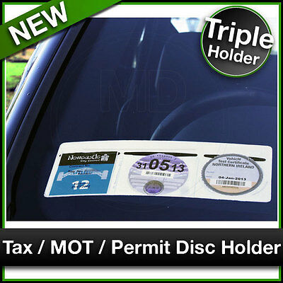 Navy Road Tax Disc Holder Easy Fit /& Removal Universal Car Parking Permit Holder