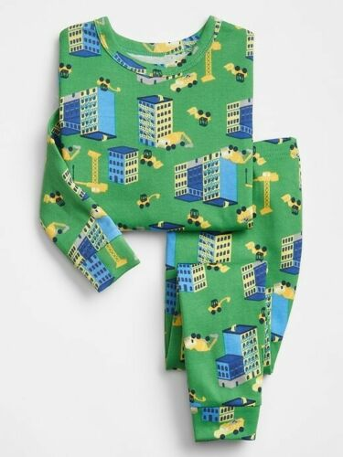 NWT BABY GAP BOYS PAJAMAS PJS green construction buildings trucks  you pick size
