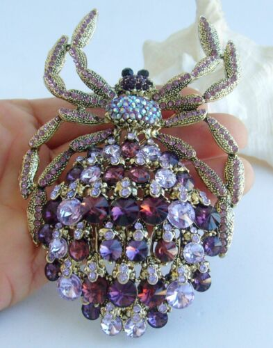 "Luxe 4.33/"" Animal Araignée Broche Broche Pendentif violet Autrichien Cristal 04792C8"