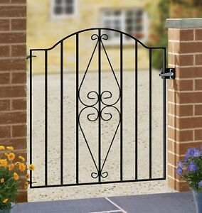 Henley-Scroll-Garden-Gates-850-990mm-GAP-x-942mm-H-Galvanised-Wrought-Iron-Metal