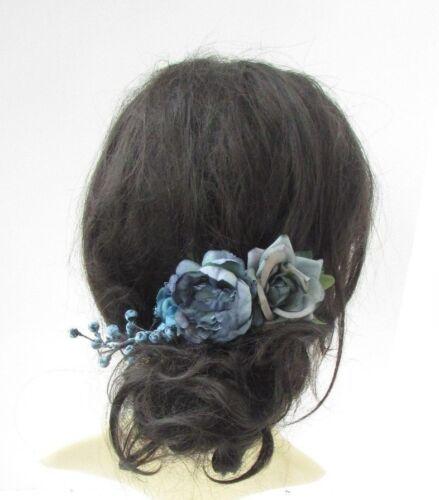Teal Petrol Blue Rose Berry Flower Hair Comb Fascinator Bridesmaid Floral 5145