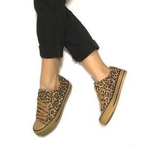 taglia 40 e016d 3cae7 Dettagli su Scarpe donna ginnastica tela sneakers basse leopardate 36 37 38  39 40 41