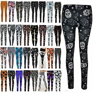 Ladies Full Bones Skelton Print Legging Ladies Halloween Slim Fit Skinny Pants