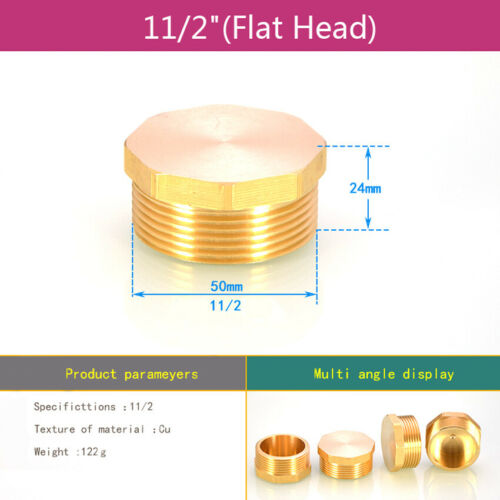 "Brass BSP Male Thread Blanking Cap Stop End Lock For 1//8/""-2/"" Piping Tubing"