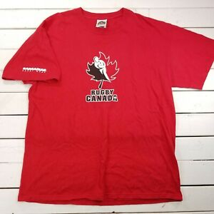 Barbarian-Rugby-Graphic-T-Shirt-Mens-Large-Red-Team-Canada-Short-Sleeve-T319