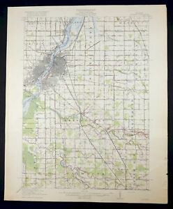 1919 Saginaw Michigan Buena Vista Bridgeport Vintage Original Usgs