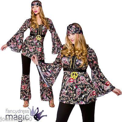 LADIES 60s 70s PEACE LOVIN HIPPIE CHICK HIPPY 1960s RETRO FANCY DRESS COSTUME