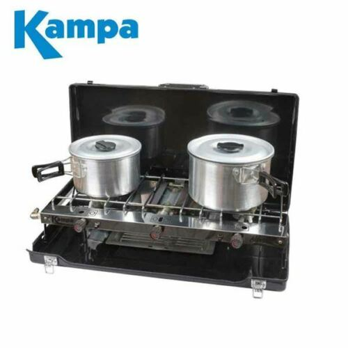 Kampa Alfresco Double Gas Hob /& Grill Camping Cooker Folding Stove 2019 Model