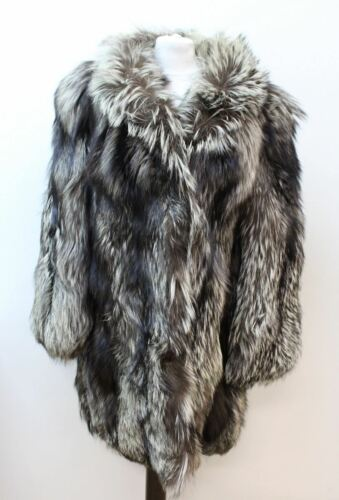 Fox Approx Jacket Long Xl Real Platinum Silver Size Fur Coat Ladies Collared wOIqpq