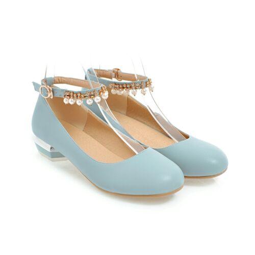 Cute Studenten Halbschuhe Perlen Damen Loafers Runde Niedrig Absatz Party Mode