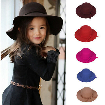 Warm Children Kids Girls Wide Brim Felt Bowknot Bowler Floppy Cloche Hat Sun Cap