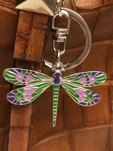 Metal Enamel Green Dark /& Lt Purple  Dragonfly Key Ring//Purse Charm// Zipper Pull