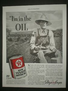 1937 NEW TEXACO MOTOR OIL CAN FARMER photo print ad