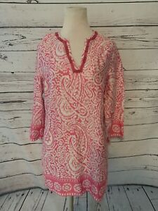 Brooks Brothers 346 Pink Tunic Top  Sz M Vneck 3/4 Sleeve Swim Coverup Dress Top