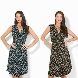 Women-Ladies-Floral-Midi-Dress-Pattern-Sleeveless-V-Neck-Stretch-Casual-Sundress