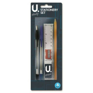 6-Piece-Stationary-Set-Back-To-School-Office-Home-Work-Pen-Pencil-Ruler-Eraser