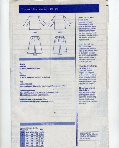 Pantalones cortos de cultivos Bateau cuello redondo de prima patrón de costura 10 12 14 16 18 20