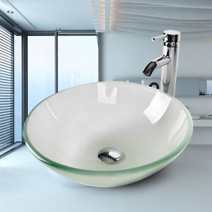 Bathroom Sink Frosted Glass Vessel Basin Round Chrome Faucet Pop Up Drain Combo 710535513158 Ebay
