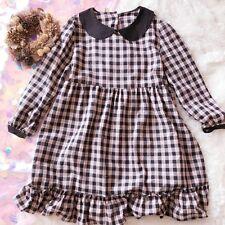 Doll Collar Dress Preppy Pleated Skirt Plaid Lolita Mori girl Princess Japanese