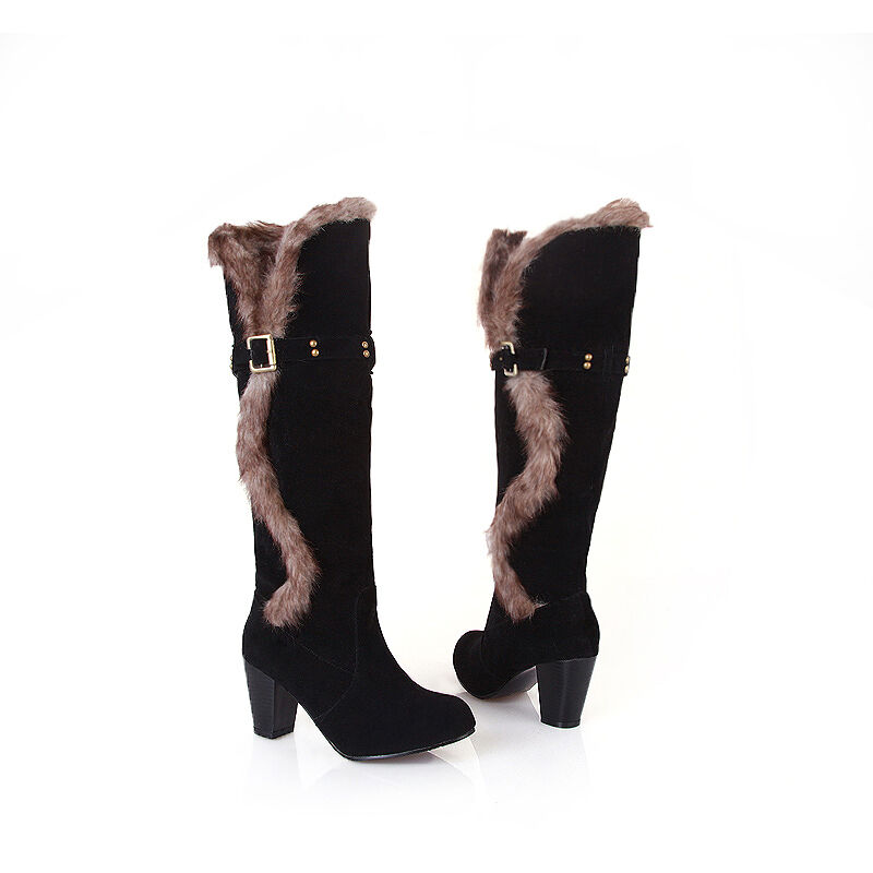 Women High Heel Fur Top Knee High Boot Faux Suede Roma Comfort shoes All UK Size